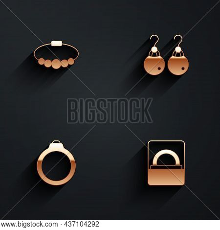 Set Bracelet Jewelry, Earrings, Diamond Engagement And Box Icon With Long Shadow. Vector
