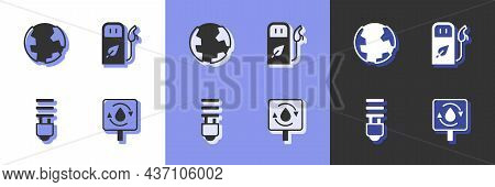 Set Recycle Clean Aqua, Earth Globe, Led Light Bulb And Petrol Or Gas Station Icon. Vector