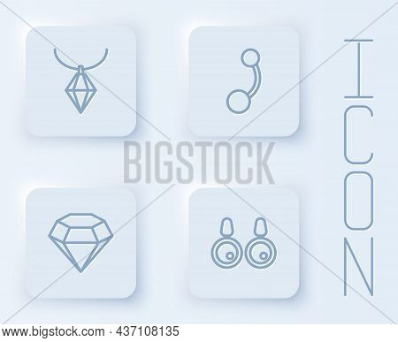 Set Line Pendant On Necklace, Piercing, Diamond And Earrings. White Square Button. Vector