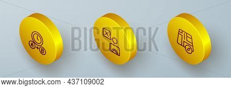 Set Isometric Line Taxi Waiting Time, Driver And Location Taxi Car Icon. Vector