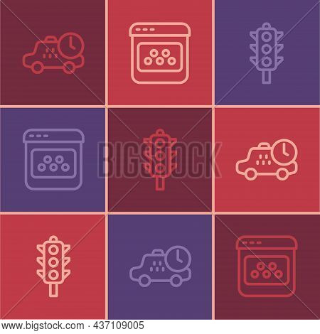 Set Line Taxi Waiting Time, Traffic Light And Mobile App Icon. Vector