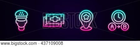 Set Line Taxi Driver, Stacks Paper Money Cash, Location With Star And Waiting Time. Glowing Neon Ico