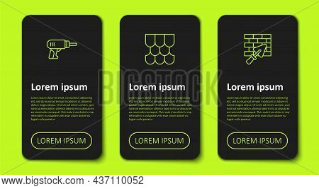 Set Line Electric Drill Machine, Roof Tile And Brick Wall With Trowel. Business Infographic Template