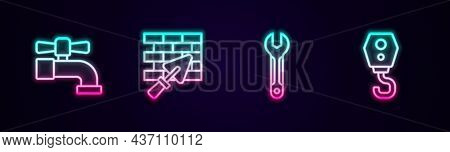 Set Line Water Tap, Brick Wall With Trowel, Wrench Spanner And Crane Hook. Glowing Neon Icon. Vector
