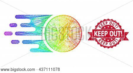 Rainbow Colorful Wire Frame Electric Charge, And Keep Out Exclamation Unclean Ribbon Seal Print. Red