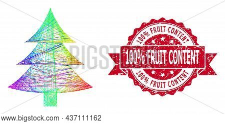 Spectrum Vibrant Network Fir Tree, And 100 Percent Fruit Content Unclean Ribbon Stamp Seal. Red Stam
