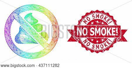 Rainbow Vibrant Net Forbidden Shit, And No Smoke Exclamation Grunge Ribbon Stamp Seal. Red Stamp Sea