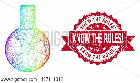 Bright Colorful Network Glass Flask, And Know The Rules Exclamation Corroded Ribbon Stamp Seal. Red