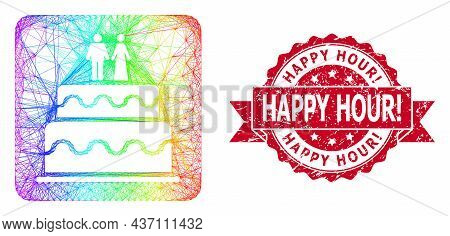 Spectrum Vibrant Net Marriage Cake, And Happy Hour Exclamation Grunge Ribbon Stamp Seal. Red Seal Co