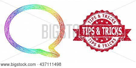 Bright Colored Net Message Cloud, And Tips And Tricks Corroded Ribbon Stamp. Red Stamp Seal Has Tips