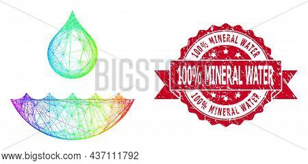 Rainbow Colored Net Water, And 100  Percent Mineral Water Grunge Ribbon Stamp Seal. Red Seal Include