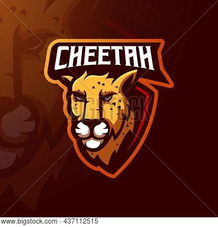 Cheetah Mascot Logo Design Vector With Modern Illustration Concept Style For Gaming, Sport, Esports,