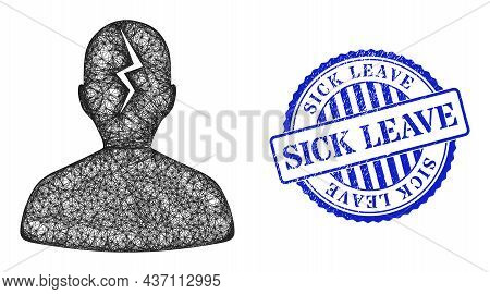 Vector Net Mesh Migraine Carcass, And Sick Leave Blue Rosette Grunge Badge. Crossed Carcass Net Illu