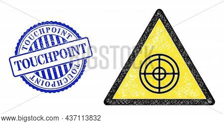 Vector Net Mesh Target Danger Frame, And Touchpoint Blue Rosette Rubber Seal. Hatched Frame Network