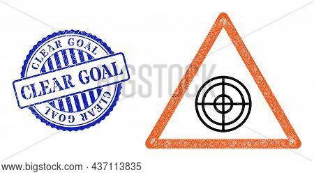 Vector Crossing Mesh Target Warning Framework, And Clear Goal Blue Rosette Grunge Stamp Seal. Crosse