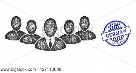 Vector Net Mesh Team Boss Carcass, And German Blue Rosette Rubber Seal Print. Crossed Carcass Net Im