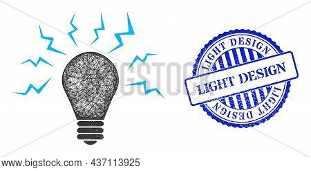Vector Crossing Mesh Ultraviolet Bulb Carcass, And Light Design Blue Rosette Unclean Seal. Hatched C