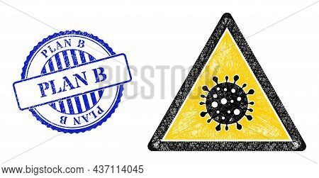 Vector Net Virus Danger Frame, And Plan B Blue Rosette Rubber Seal Imitation. Wire Carcass Net Illus