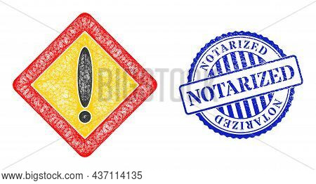 Vector Network Warning Rhombus Carcass, And Notarized Blue Rosette Unclean Stamp Seal. Hatched Carca
