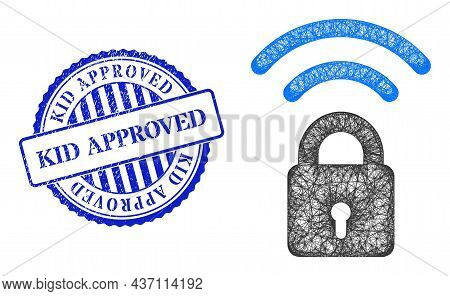 Vector Net Wi-fi Lock Carcass, And Kid Approved Blue Rosette Grunge Badge. Hatched Carcass Net Illus