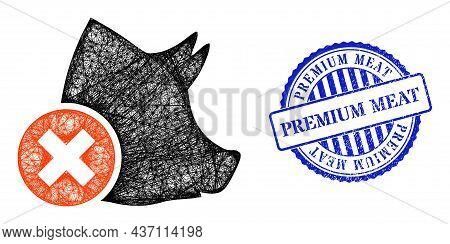 Vector Crossing Mesh Wrong Pork Framework, And Premium Meat Blue Rosette Grunge Stamp. Crossed Carca