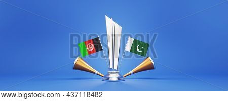 3D Silver Winning Trophy With Participating Countries Flags Of Afghanistan VS Pakistan And Golden Vuvuzela On Blue Background.