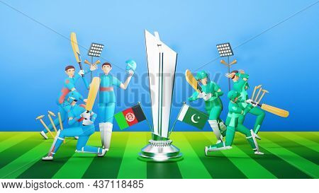 3D Participating Cricket Players Team Of Afghanistan VS Pakistan With Silver Winning Trophy On Blue And Green Stripe Background.