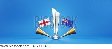 3D Silver Winning Trophy With Participating Countries Flags Of England VS Australia And Golden Vuvuzela.