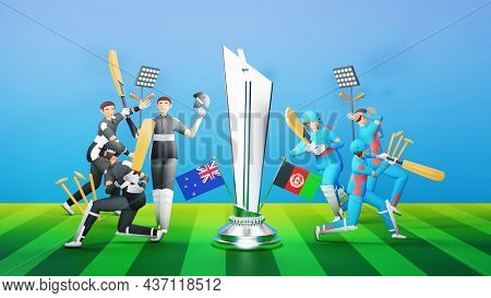 3D Participating Cricket Players Team Of New Zealand VS Afghanistan With Silver Winning Trophy And Tournament Equipments.