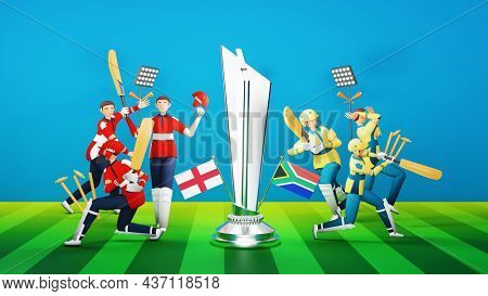 Participating Cricket Team Of England VS South Africa With Silver Winning Trophy And Tournament Equipments In 3D Style.