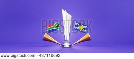 3D Render Silver Winning Trophy With Participating Team Flags Of South Africa VS West Indies And Golden Vuvuzela On Purple Background.