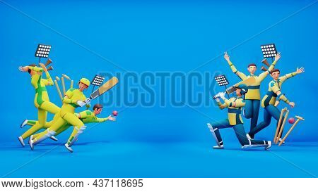 3D Participating Cricket Player Team Of Australia VS South Africa And Copy Space On Blue Background.