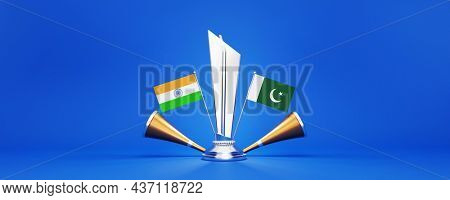 3D Silver Winning Trophy With Participating Countries Flags Of India VS Pakistan And Golden Vuvuzela On Blue Background.