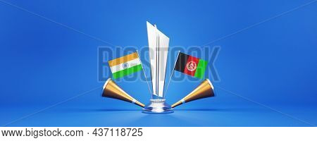 3D Silver Winning Trophy With Participating Teams Flags Of India VS Afghanistan And Golden Vuvuzela On Blue Background.