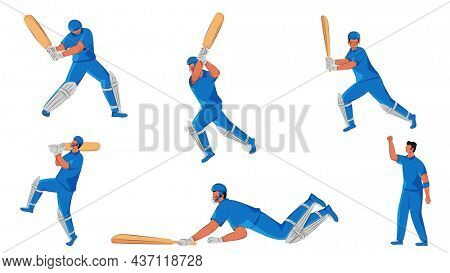 Set Of Faceless Cricket Players In Different Poses On White Background.