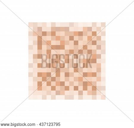 Censor Blur Effect Texture For Face Or Nude Skin. Blurry Pixel Color Censorship Square. Vector Illus