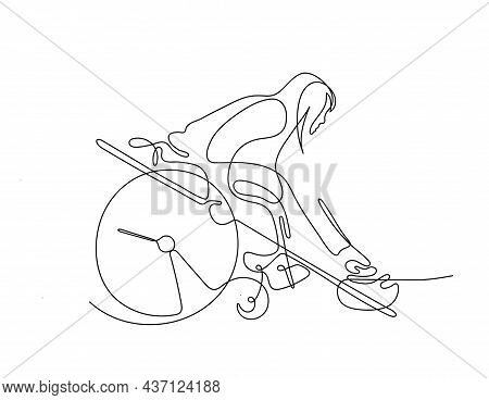 One Line Drawing Of A Female Athlete In A Wheelchair. Winter Sport For People With Disabilities. Whe