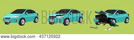 Cartoon Vector Or Illustration. Status Of The Soft Green Car From Normal Car To The Car Was Slightly