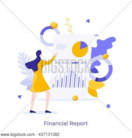 Woman Examining Whiteboard With Diagrams On It. Concept Of Financial Report Or Statement, Business P