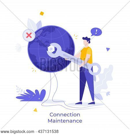 Repairman Tightening Nut On Globe Or Planet. Concept Of Wi-fi Connection Maintenance, Internet Black