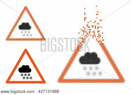 Erosion Dotted Snow Weather Warning Icon With Halftone Version. Vector Wind Effect For Snow Weather