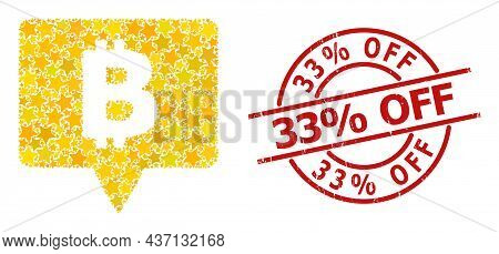Bitcoin Banner Star Mosaic And Grunge 33 Percent Off Seal Stamp. Red Stamp With Corroded Style And 3