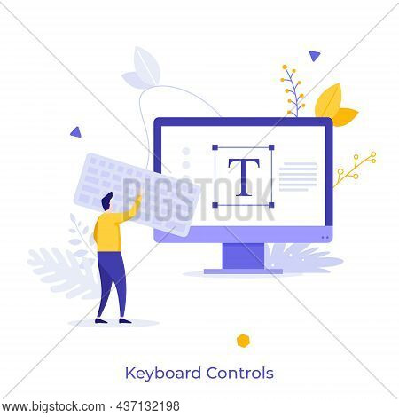 Man Using Keypad Connected To Personal Computer. Concept Of Keyboard Control For Text Editor Program