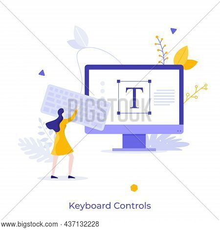 Woman Using Keypad Connected To Personal Computer. Concept Of Keyboard Control For Text Editor Progr