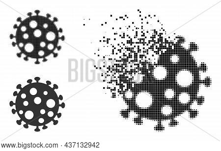 Moving Pixelated Virus Cell Icon With Halftone Version. Vector Wind Effect For Virus Cell Pictogram.