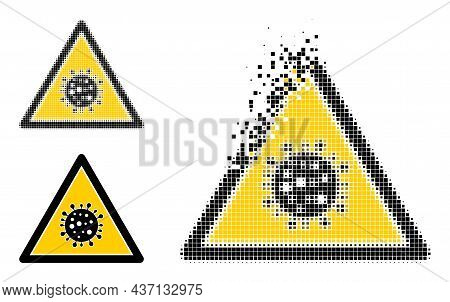 Disintegrating Pixelated Virus Danger Pictogram With Halftone Version. Vector Wind Effect For Virus