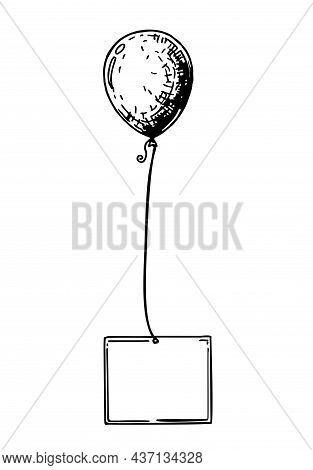 Balloon. Inflatable Ball On A String. Sketch. Inflatable Balloon With A Card For Text.