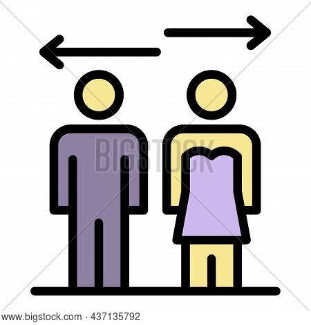 Relationship Divorce Icon. Outline Relationship Divorce Vector Icon Color Flat Isolated