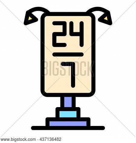 Service Center Lightbox Icon. Outline Service Center Lightbox Vector Icon Color Flat Isolated