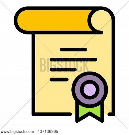Internship Diploma Icon. Outline Internship Diploma Vector Icon Color Flat Isolated